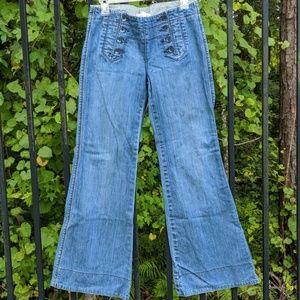 Sailor style wide leg low rise jeans